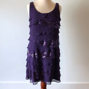 Flattering purple dress with layers and sequins